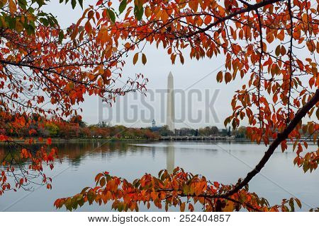 Washington Monument as seen from Tidal Basin in autumn - Washington DC United States of America