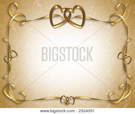 Golden Valentine Or Wedding Invitation