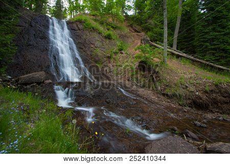 Upper Peninsula Roadside Waterfall. Beautiful Haven Falls Is Located In A Roadside Park In Lac La Be