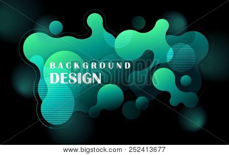Abstract Colorful Geometric Background Design. Neon Fluid Shapes Composition With Futuristic Gradien