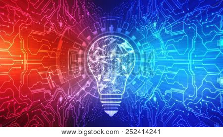 Bulb Future Technology, Innovation Background, Creative Idea Concept, Artificial Intelligence Concep