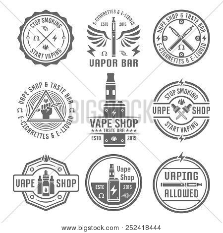 Vape Shop And Vapor Bar, Electronic Cigarette And Electronic Liquid, Set Of Vector Monochrome Labels