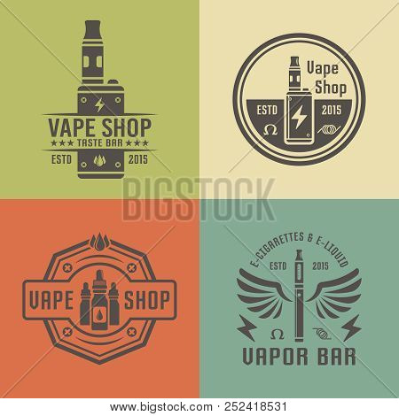 Vape Shop And Vapor Bar, Electronic Cigarette And Electronic Liquid, Set Of Vector Labels, Badges, E