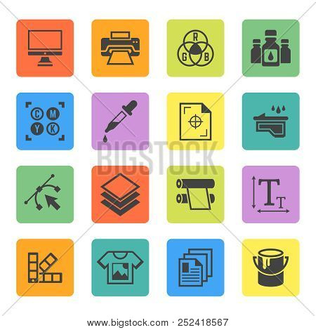 Printing Set Of Vector Squre Colored Icons In Flat Style