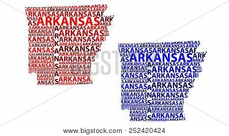Sketch Arkansas (united States Of America, The Natural State, The Bear State) Letter Text Map, Arkan