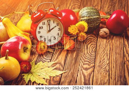 Autumn Harvest Concept. Fall Fruit And Vegetables On Wooden Background. Thanksgiving Day. Autumn Car