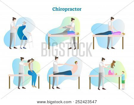 Chiropractor Vector Illustration Collection Set. Doctor, Therapist Or Masseur Exam Sick Person In Ho