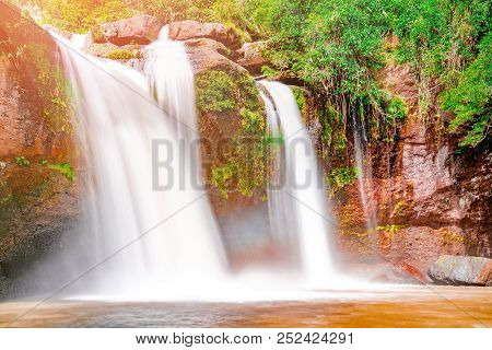 Beautiful Waterfall With Sunlight In Jungle, Haew Suwat Waterfall