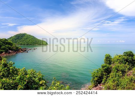 Rocky Cliff Above The Beautiful Clear Sea And Island,view From Noen Nangphaya View Point , Chanthabu