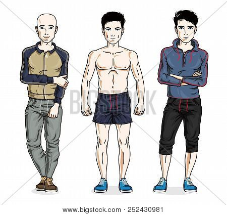 Handsome Men Standing In Stylish Sportswear, Sportsman And Fitness People. Vector Different People C