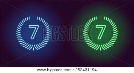 Neon Seventh Place In Blue And Green Color. Vector Illustration Icon Of Seventh Position In Glowing