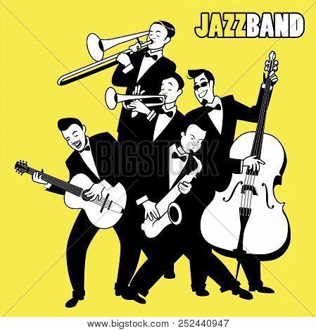 Jazz Band. Five Jazz Players Playing Jazz Music. Cartoon Style