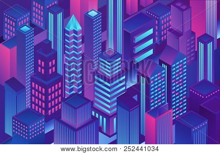 Isometric Trendy Violet Blue Gradient Color City Template Illustration Of Cryptography, Online Elect