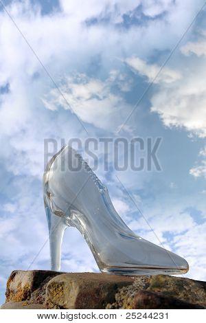 Glass High Heel Slipper On Rocky Surface