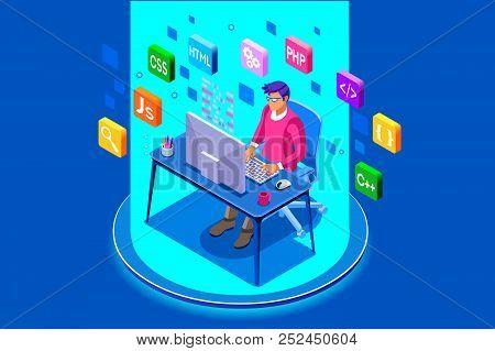 Device With Character Concept. Program Developer Creating Website Writing Software At Computer Deskt