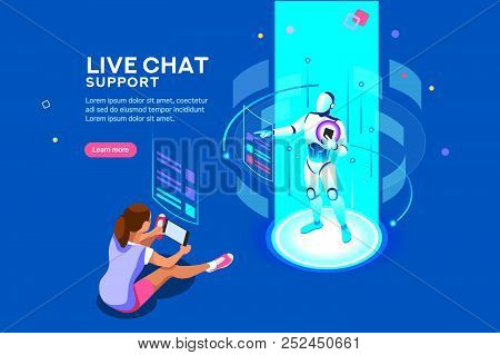 Artificial Intelligence, Ai Business. Iot Concept With Man Bot Chat With Women. Robot Service For Me