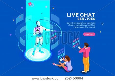Artificial Intelligence, Ai For Business. Iot Concept, Mans And Women A Chat Bot Dialog. Messenger A