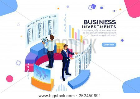 Businessman, Isometric Chart On Device. Strategy Analytics And Economic. Analyze Future Progress On