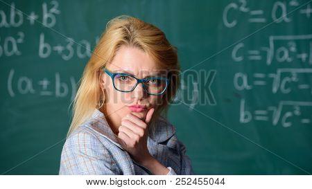 Solve Mathematics Task. Solve That Task. School Education Basic Knowledge. Lady Wear Eyeglasses Smar