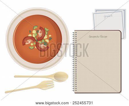 Typical Spanish Food. Gazpacho. Notebook Recipe. Paper Napkin