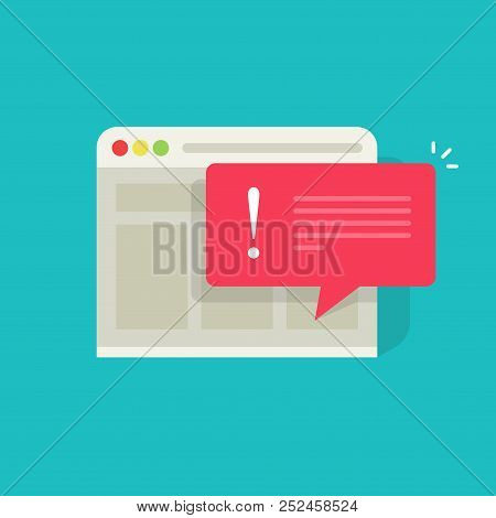 Error Message Vector Illustration, Flat Cartoon Exclamation Alert Notification On Browser Website Pa