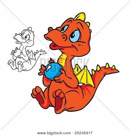little dragonwitha Christmasball