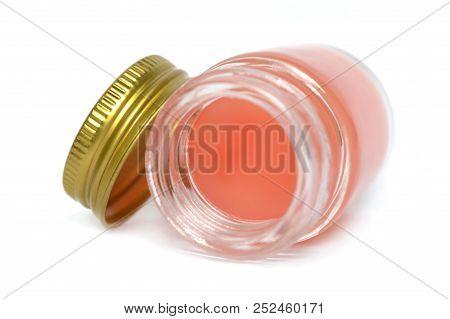 Thai Herbal Balm In Glass Bottle On White Background