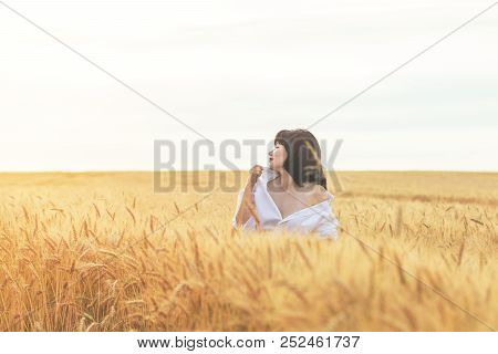 Cute Happy Beautiful Sexy Female Against A Background Of Wheat Field At The Time Of The Sunset.