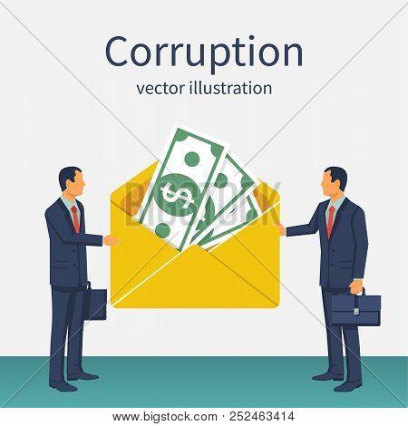 Bribery Concept. Money In An Envelope In Hands Of Businessmen During Corruption Deal. Vector Illustr