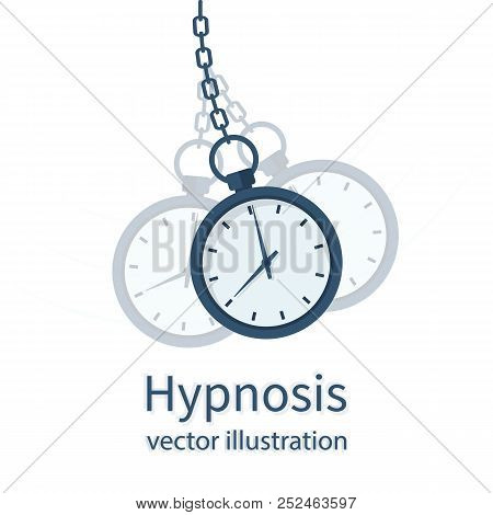 Hypnosis Concept. Watch On A Chain. Golden Pocket Watch. Pendulum Swinging. Mind Control. Vector Ill