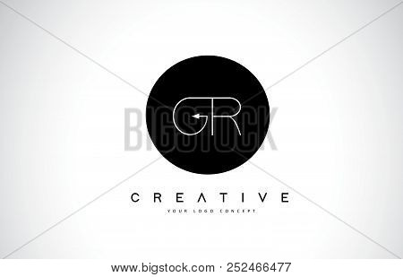 Gr G R Logo Design With Black And White Creative Icon Text Letter Vector.