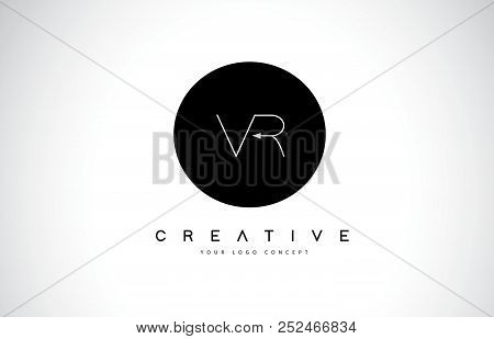 Vr V R Logo Design With Black And White Creative Icon Text Letter Vector.