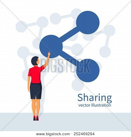 Woman Presses The Button Hand Sharing. Icon Share. Vector Illustration Flat Design. Isolated On Whit