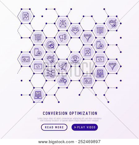 Conversion Optimization Concept In Honeycombs With Thin Line Icons: Marketing, Seo Technology, Websi