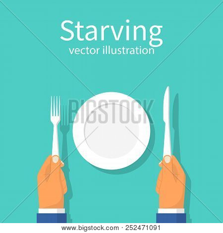 Starving. Refusal to eat. Famine. Vector illustration flat design. Isolated on background. An empty plate in front of a man. Cutlery in hands. poster
