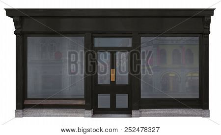 3d Illustration Storefront Framed With Black Wood And Cut Out On White Background