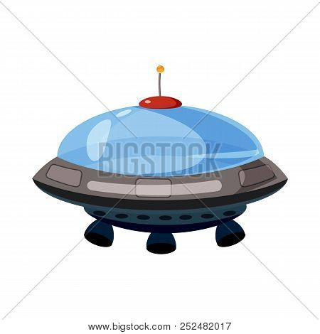 Flying Saucer Icon In Cartoon Style Isolated On White Background. Aircraft Symbol