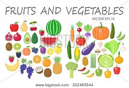 Colorful Fruits And Vegetables Clipart Set. Fruit And Vegetable Colored Cartoon Vector Collection.