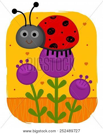 Clip-art Of A Cute Ladybug Standing On A Purple Flower. Eps10