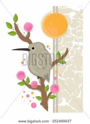 Cute Deign Of A Bird Standing On A Blooming Branch. Eps10