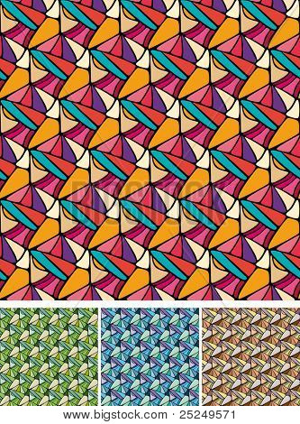 Set of Abstract perspective backgrounds with pastel stained glass effect