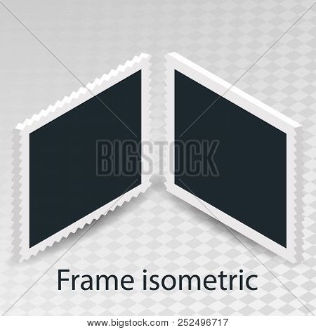 Set Of Rotational Concept Isometric Cube With Retro Photo Frame, Double Isolated Object On Transpare