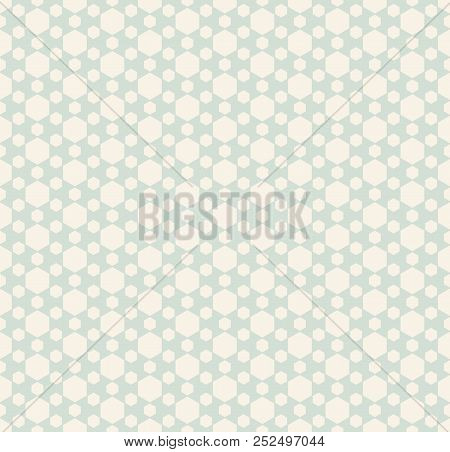 Retro Vintage Hexagonal Seamless Pattern. Subtle Abstract Geometric Background In Soft Pastel Colors
