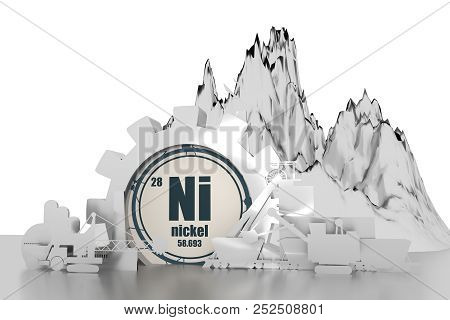 Gear With Energy Relative Silhouettes. Design Set Of Coal Mining Industry. Nickel Chemical Element.