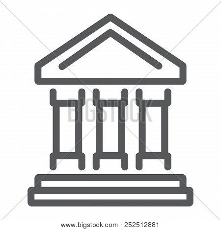 Bank Building Line Icon, Finance And Banking, Bank Sign, Vector Graphics, A Linear Pattern On A Whit