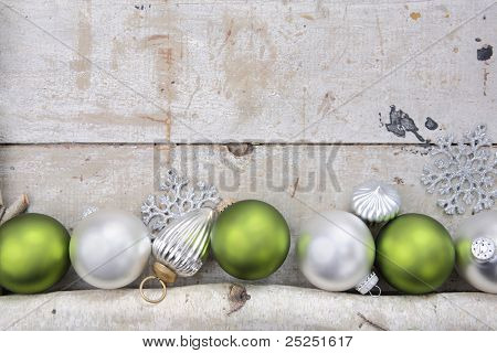 Birch log with Christmas Ornaments