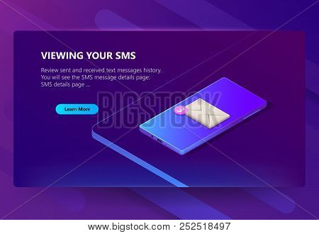 Vector 3d Isometric Template Of Site For Smartphone S Messages History. Online Sms Details Page. Soc