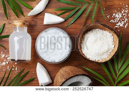 Set Of Organic Coconut Products For Spa Treatment, Cosmetic Or Food Ingredients. Oil, Water And Shav