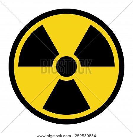 Radiation Hazard Sign. Symbol Of Radioactive Threat Alert. Black Hazard Emblem Isolated In Yellow Ci