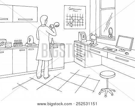 Laboratory Graphic Black White Interior Sketch Illustration Vector. Scientist Mixing Potions